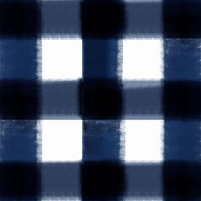 NAVY blue buffalo check painted large plaid