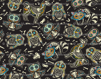 Day of the dead skeleton animals