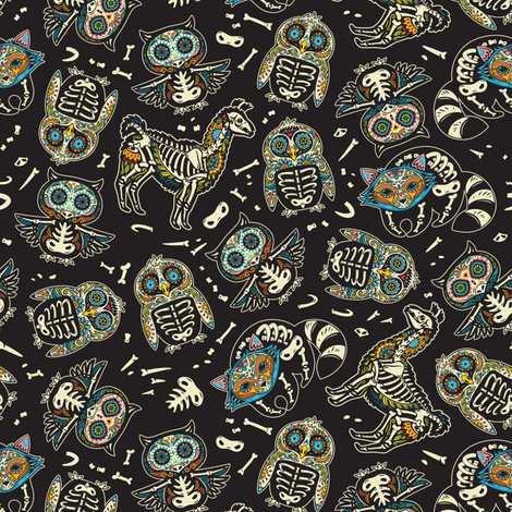Day of the dead skeleton animals fabric by penguinhouse on Spoonflower - custom fabric