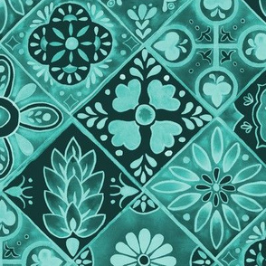 Watercolor Talavera Tiles- Teal // spanish mexican ceramic diamond floral tile emerald mint teal fabric