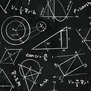 Chalkboard Calculations // math geometry chalkboard equations physics STEM fabric
