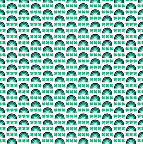 (micro print) rainbows and clovers - St Patricks Day fabric by littlearrowdesign on Spoonflower - custom fabric