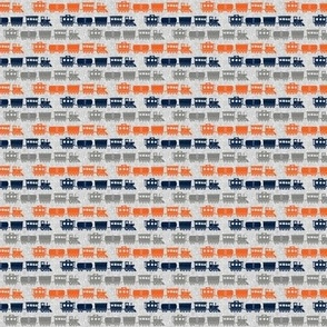 (micro scale)  multi trains - grey, navy, orange on grey linen