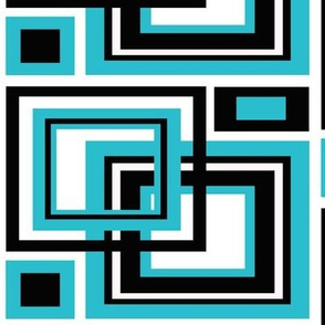 Geometric Turquoise Blue Black Abstract Square