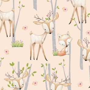 Sweet Woodland Animals (blush) - Deer Fox Raccoon Birch Trees Flowers Baby Girl Nursery Blanket Sheets Bedding A