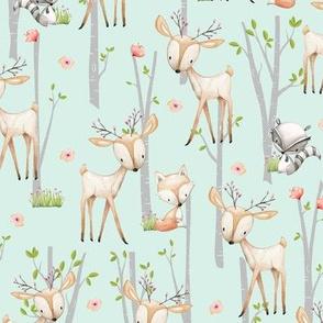 Sweet Woodland Animals (soft mint) Deer Fox Raccoon Birch Trees Flowers Baby Girl Nursery Blanket Sheets Bedding B