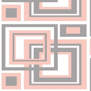 Geometric Coral Gray Grey Abstract Square