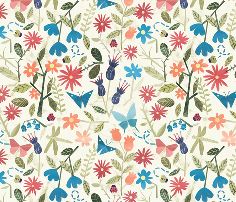 Origami insects and paper cut flowers fabric by natalia_gonzalez on Spoonflower - custom fabric
