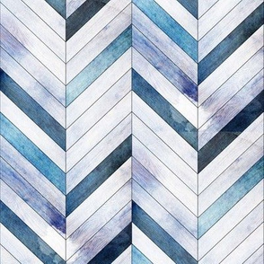 Blue Herringbone Wood