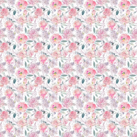 Pink Purple Floral Watercolor Bouquet  // Small fabric by hipkiddesigns on Spoonflower - custom fabric