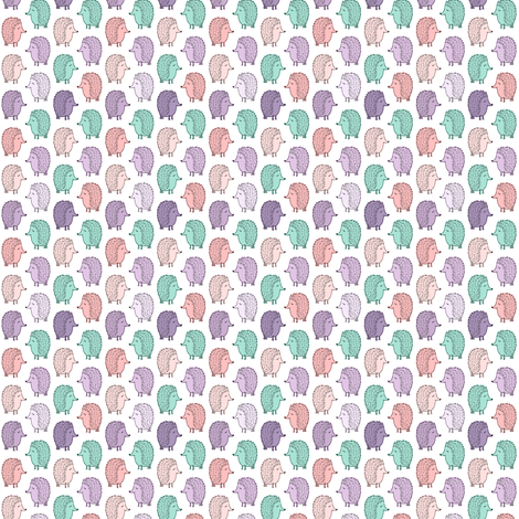 (micro scale) hedgehogs - pink and purple fabric by littlearrowdesign on Spoonflower - custom fabric