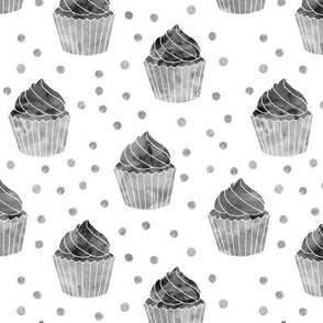 watercolor cupcake (monochrome)