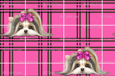 Parti-Biewer-Yorkie Plaid hot pink S