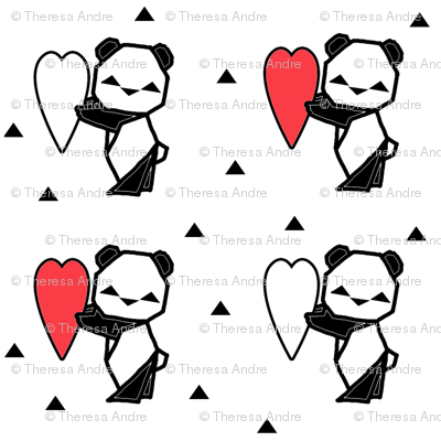 Origami Panda with Heart