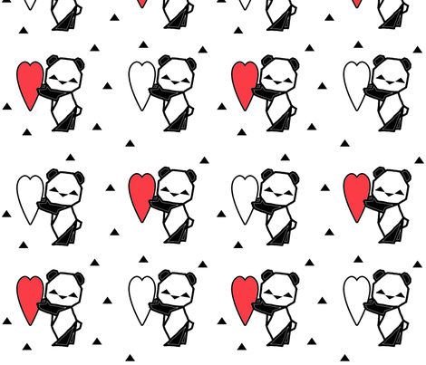 Origami Panda with Heart fabric by twix on Spoonflower - custom fabric