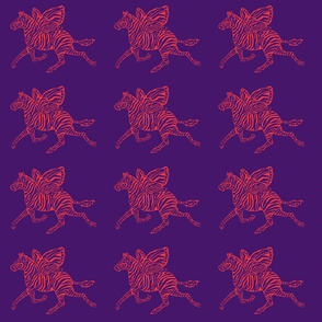 Zebra Fly in red on purple background
