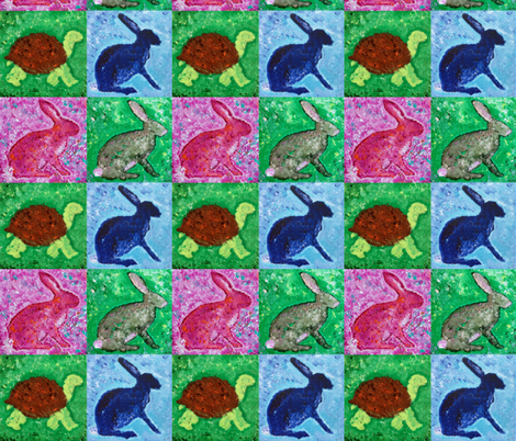 Tortoise and the Hares(s) fabric by lisakling on Spoonflower - custom fabric