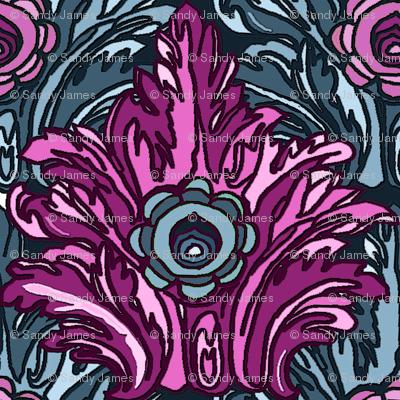 art deco ornament teal 6x6
