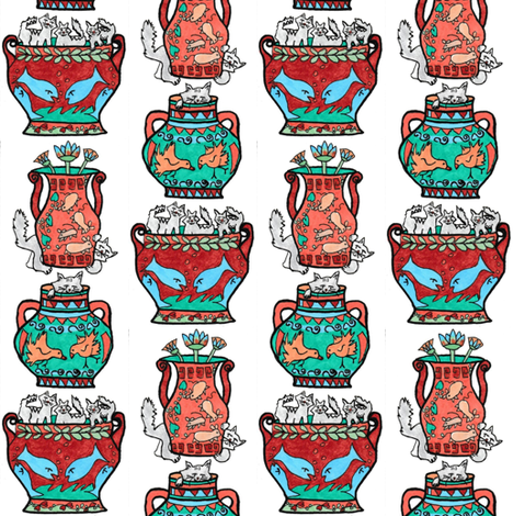 Those Greek Cats on White fabric by kimruss@thatcatart on Spoonflower - custom fabric