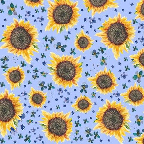 Sunflowers light denim