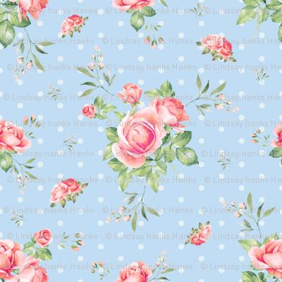 Blue Polka Dot Floral Spring