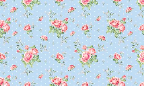 Blue Polka Dot Floral Spring  fabric by twodreamsshop on Spoonflower - custom fabric