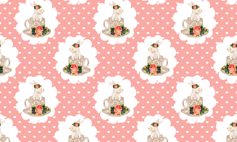 Easter Bunnies Teacups and Bunnies Hearts fabric by twodreamsshop on Spoonflower - custom fabric