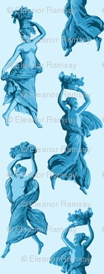 Greek Harvest Maidens on Pale Blue