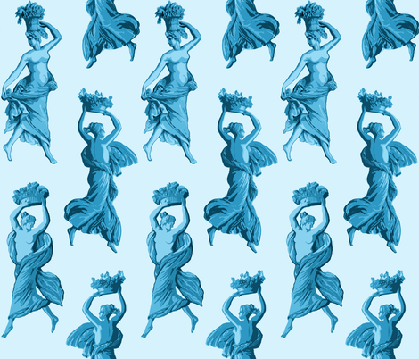 Greek Harvest Maidens on Pale Blue fabric by elramsay on Spoonflower - custom fabric