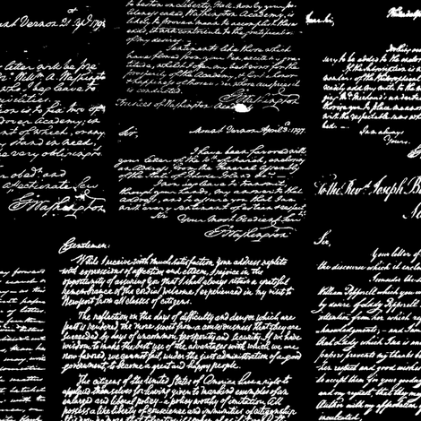 Letters of George Washington // Black  fabric by thinlinetextiles on Spoonflower - custom fabric