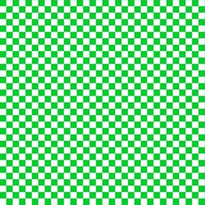 Quarter Inch Vivid Racing Green and White Checkerboard Squares