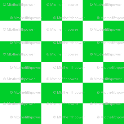 One Inch Vivid Racing Green and White Checkerboard Squares