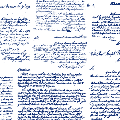 Letters of George Washington // Blue Ink fabric by thinlinetextiles on Spoonflower - custom fabric