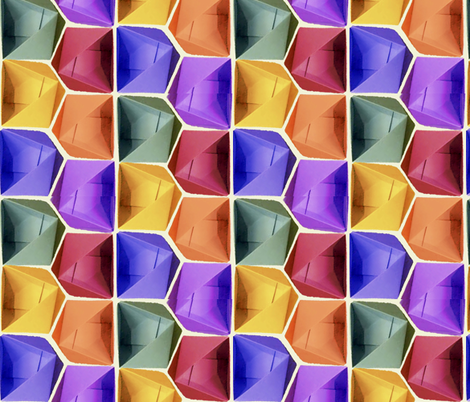 Jewel-tone Origami Boxes fabric by twilfley on Spoonflower - custom fabric