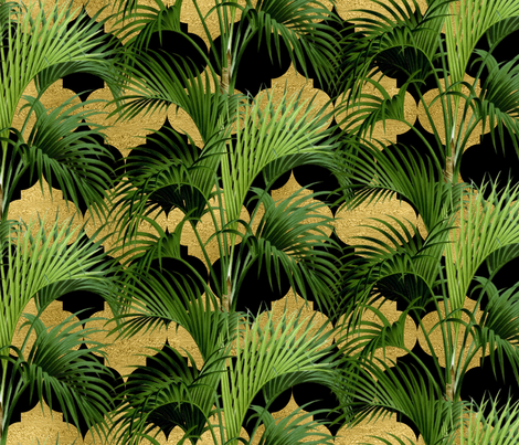 Palms on Quatrefoil Black Gold  fabric by wickedrefined on Spoonflower - custom fabric
