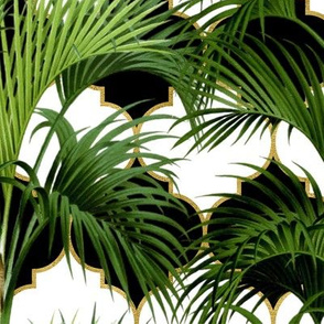 Palms on Quatrefoil Black White Gold