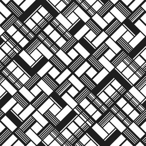 Abstract black and white geometric pattern of intersected squares