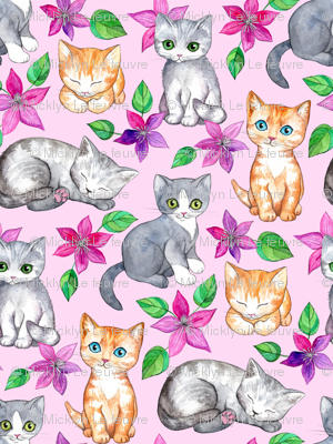 Tiny Cute Kittens and Clematis Flowers in Watercolor on Pretty Pink