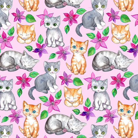 Tiny Cute Kittens and Clematis Flowers in Watercolor on Pretty Pink fabric by micklyn on Spoonflower - custom fabric