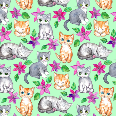 Tiny Cute Kittens and Clematis Flowers in Watercolor on Mint Green fabric by micklyn on Spoonflower - custom fabric
