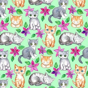 Tiny Cute Kittens and Clematis Flowers in Watercolor on Mint Green