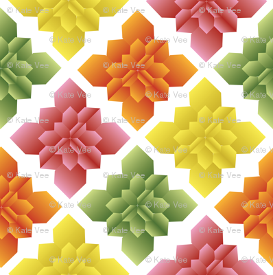 Origami Square Flowers citrus