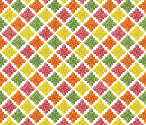 Origami Square Flowers citrus fabric by colour_angel_by_kv on Spoonflower - custom fabric