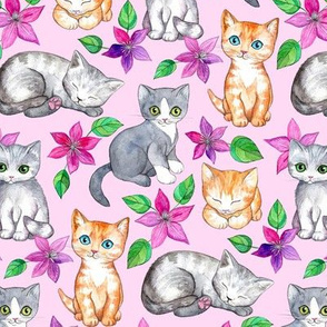 Medium Cute Kittens and Clematis Flowers in Watercolor on Pretty Pink