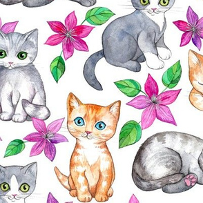 Cute Kittens and Clematis Flowers in Watercolor on White - large version