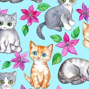 Cute Kittens and Clematis Flowers in Watercolor on Blue - large version