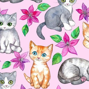 Cute Kittens and Clematis Flowers in Watercolor on Pretty Pink - large version