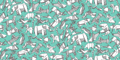 origami animal ditsy mint