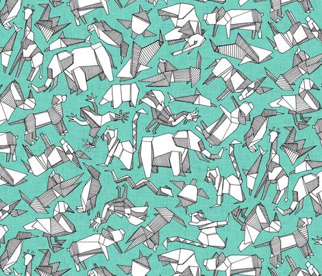 origami animal ditsy mint fabric by scrummy on Spoonflower - custom fabric