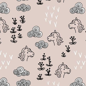 Cool clouds and horses flowers illustration design pastel sand
